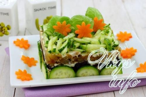 Салат слоями с курицей грибами черносливом и грецкими орехами и курицей и сыром. Рецепт 1: салат с грибами и черносливом слоями с огурцом (с фото)