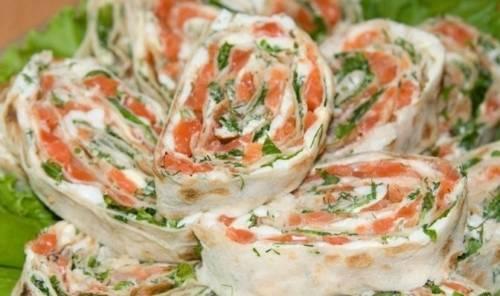 Что можно завернуть в Лаваш на скорую руку. Рулетики из лаваша с красной рыбой (семгой) и сливочным сыром