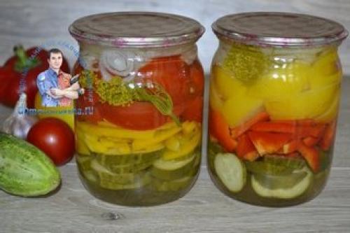 Салат слоями на зиму из овощей огурец помидор перец лук без стерилизации. Салат слоями огурцы, помидоры, лук, перец, на зиму. Лето в банке!