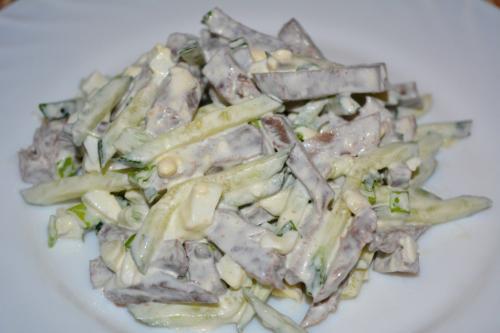 Салат из свиного сердца и свежего огурца. Рецепт 2:салат из говяжьего сердца (пошагово)