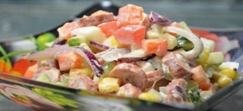 Салат РАДУГА с охотничьими колбасками. Яркий и вкусный салат «Радуга»: простой в приготовлении