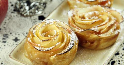 Розочки из слоеного теста с яблоками пошаговый. Розочки из слоеного теста с яблоками — очень красиво и вкусно