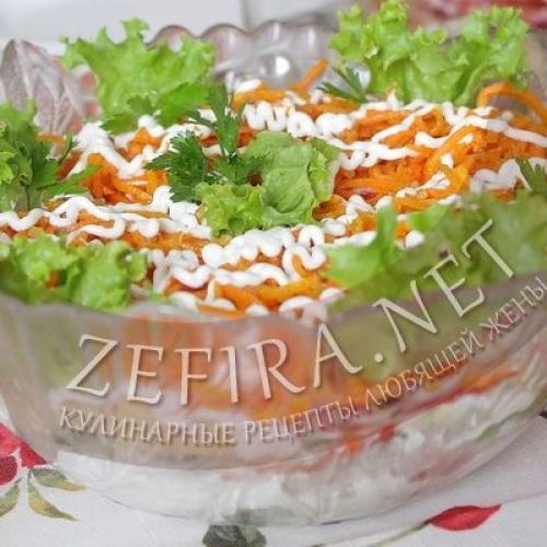 Салат с курицей болгарским перцем и корейской морковью. Салат с курицей, корейской морковью и перцем