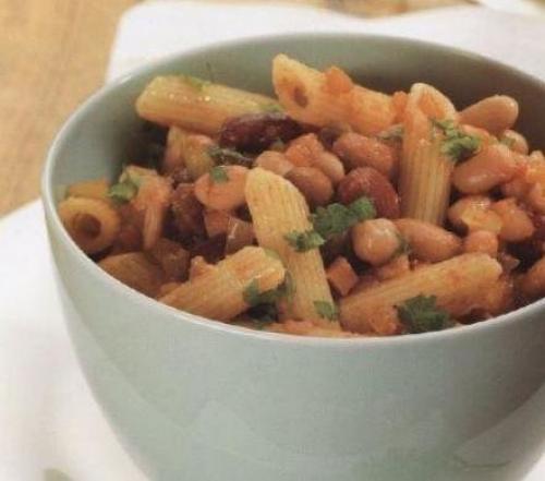 Макароны с фасолью консервированной в томатном соусе. Паста (макароны) с фасолью и фаршем