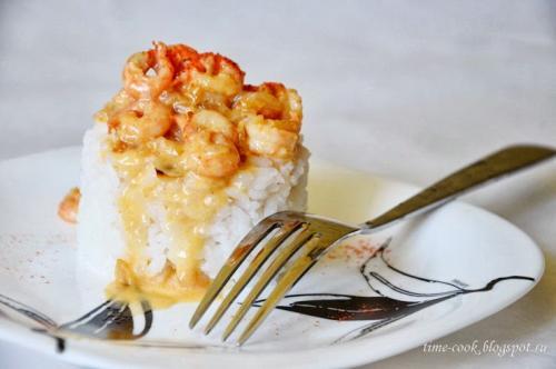 Рис в сливочном соусе с креветками рецепт. Рис с креветками в сливочном соусе