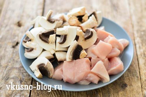 Куриная грудка с грибами и овощами. Курица тушеная с грибами и овощами
