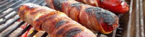 Сосиски в беконе на мангале. Закуска из сосисок и бекона на мангале или костре – рецепт